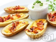 Пълнени печени картофи с бекон и сирене чедър на фурна